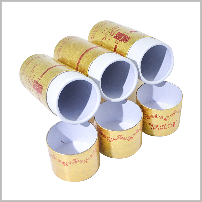 Small diameter cardboard tubes for 30ml body essential oil packaging. The inner diameter of the paper tube is determined according to the essential oil bottle, which ensures that the essential oil can be completely embedded in the inside of the cardboard tube.