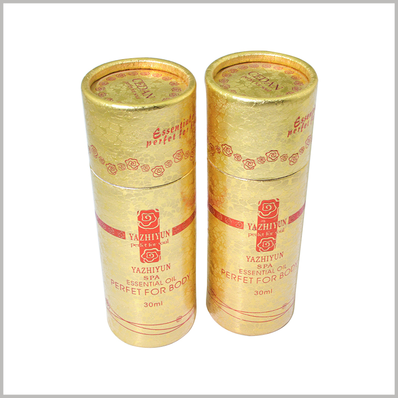 "Small diameter cardboard tubes for 30ml spa body oil packaging. Essential oil volume ""30ml"" is required to be printed on the surface of the cylindrical package, which is what consumers want to know."
