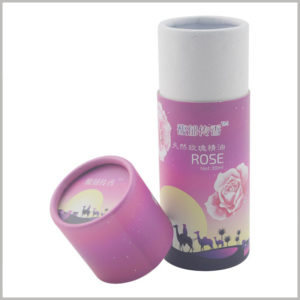 Small paper tube boxes for 30ml rose essential oil packaging, The specific printing content on the paper tube packaging reflects the characteristics and differences of essential oils