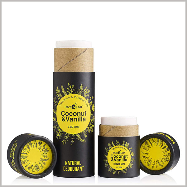 Small round packaging for 75g coconut vanilla deodorant box