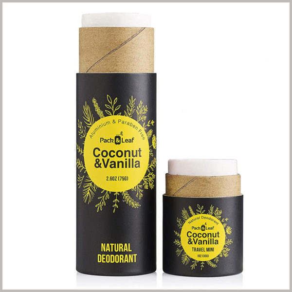 Small round packaging for coconut vanilla deodorant box. Printed tube packaging for products.