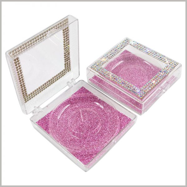 Square eyelashes packaging with crystal decoration