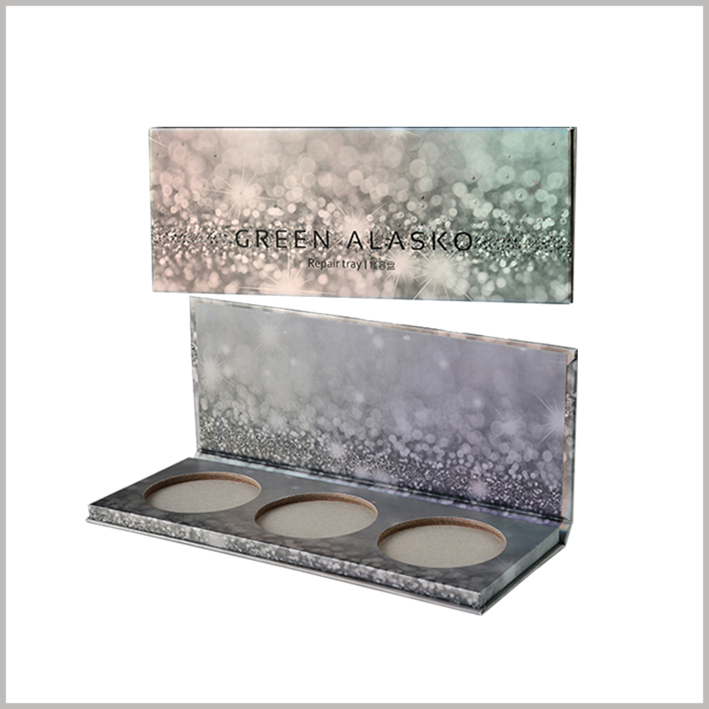 Three-color eyeshadow palette packaging boxes with ideas. Eye shadow packaging uses diamonds and starry sky as the main patterns. The packaging design is fashionable and very attractive.