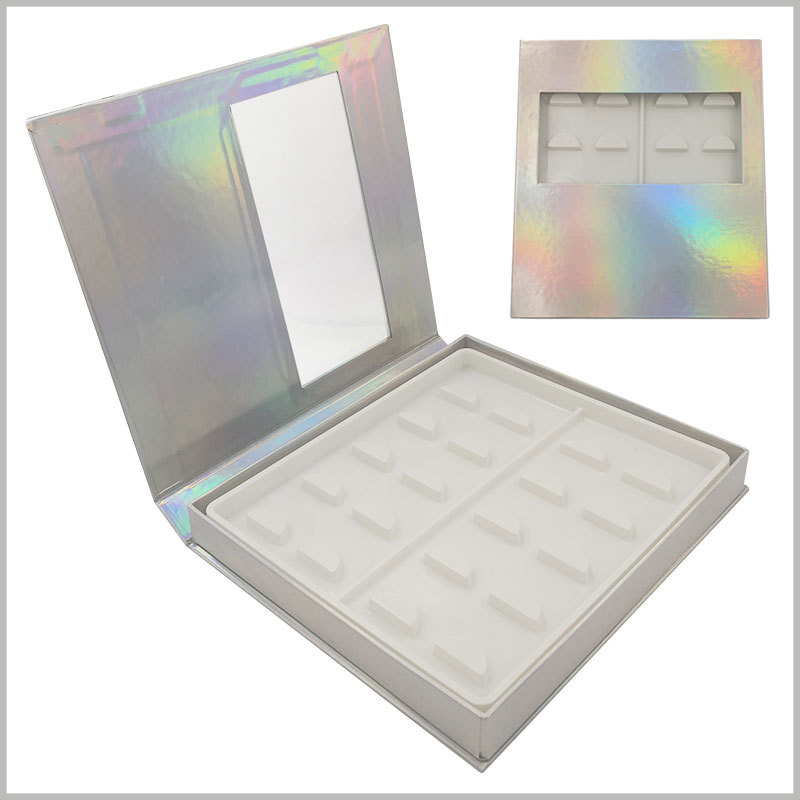 White False eyeslash packaging box with window for pack of 10 pairs. Laser paper is used as a laminated paper for false eyelash packaging. The packaging will show different gloss from different angles, which is very attractive.