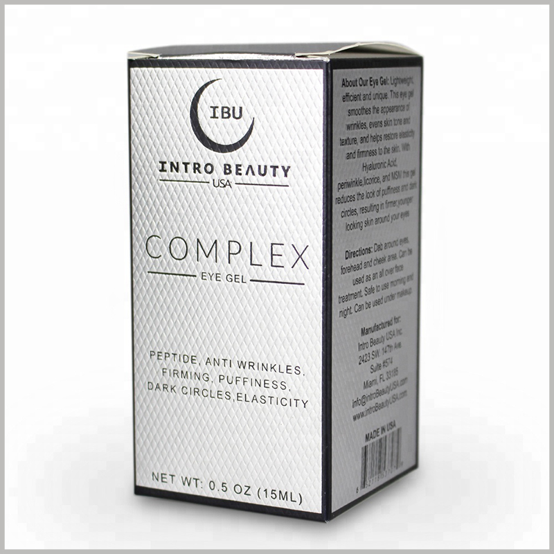 White skin care packaging for 15ml eye gel cream boxes. The detailed information of skin care products is reflected on the side of the box through emboss printing to promote product promotion.