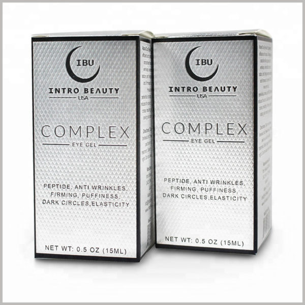 White skincare packaging for 15ml eye gel cream boxes. As a raw material for customized packaging, silver cardboard increases the potential value of skincare boxes.