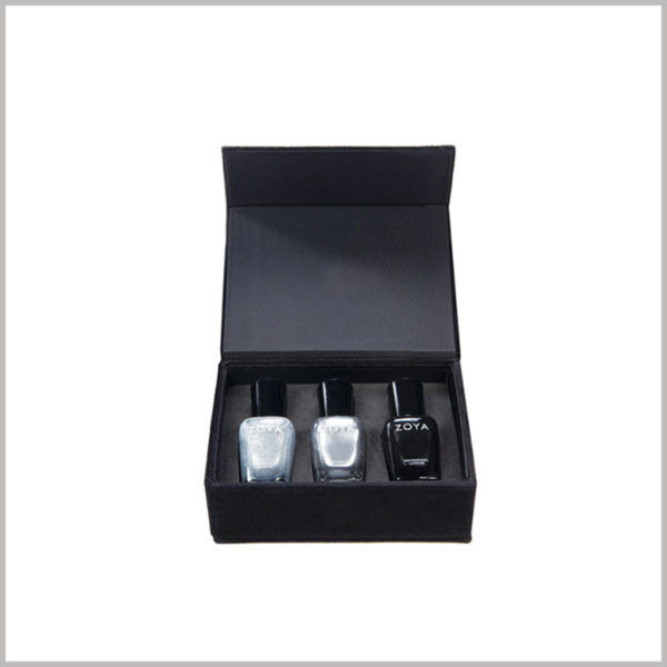 Wholesale Black cardboard boxes for 3 bottles of nail polish packaging. In order to improve the sturdiness of customized makeup boxes, 1200gsm gray board paper can be used as one of the main raw materials.