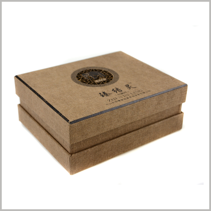 Wholesale Imitation cloth cardboard packaging for shampoo box set. Beige imitation cloth paper is laminated on cardboard boxes, which increases the creativity and appeal of packaging.