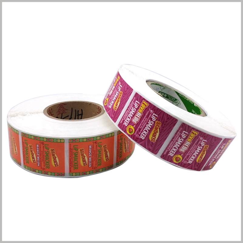Wholesale Printed roll labels for lip smackers.Beautiful cosmetics labels have many advantages, which can improve the aesthetics of products.