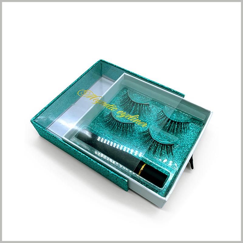 Windowed eyelash boxes square drawer design for 2 pairs