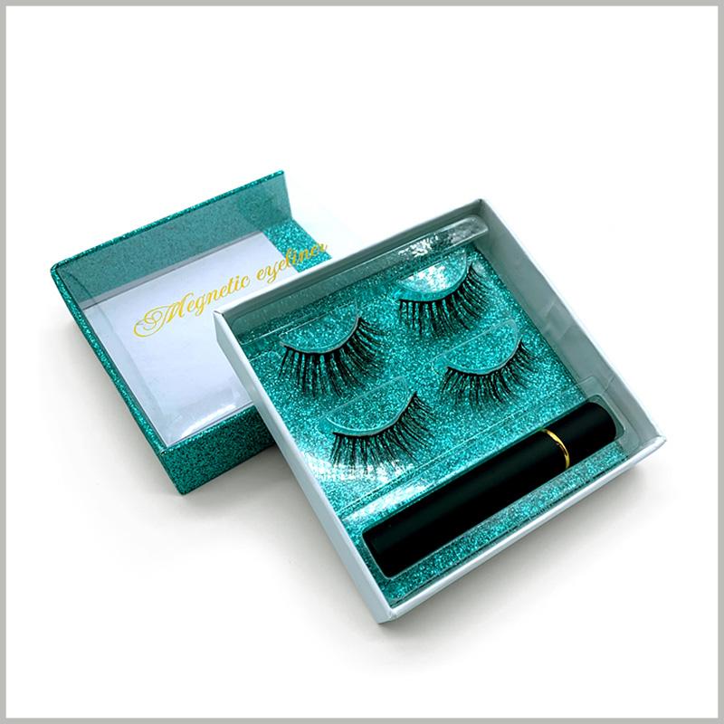 Windowed-eyelash-packaging-box-square-drawer-design-for-2-pairs