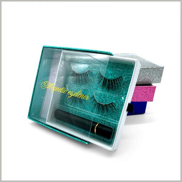 Windowed-eyelash-packaging-box-square-drawer-for-2-pairs