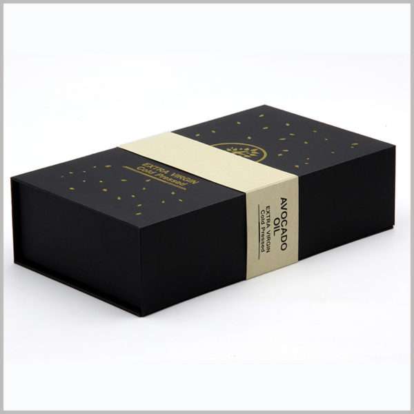 avocado essential oil packaging with logo. High-grade black cardboard boxes packaging with a sleeve, more confidence can be printed and then inside the sleeve.