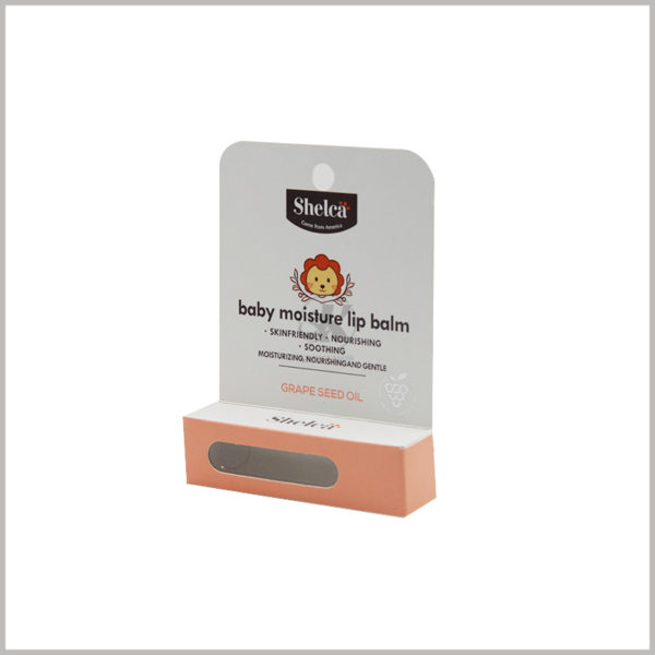 """baby moisture lip balm packaging with hang tags wholesale. printed with """"BABY"""" in bold bold font in the middle of the cardboard to highlight the product type, and the soft and cute lion pattern is selected to increase the childishness of the product."""