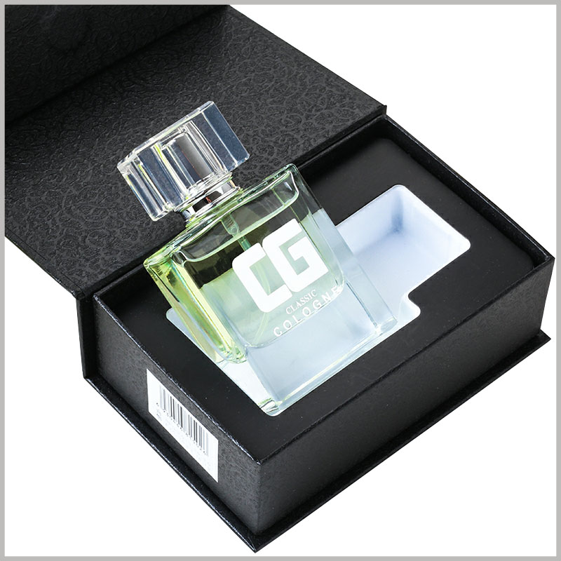 black cardboard boxes for 50ml perfume bottle packaging. The packaging design is unique. The black perfume boxes have many lines on the surface, with a unique touch and visual sense.