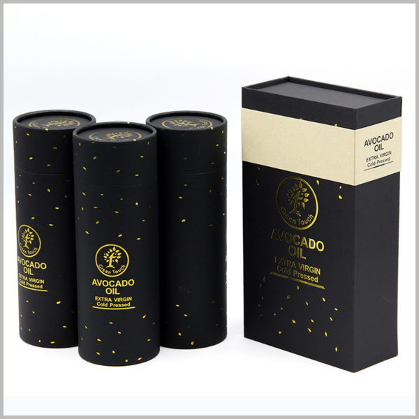 black cardboard boxes for avocado essential oil packaging, The pattern, text and brand logo of the packaging are all printed with bronzing, which adds value to the packaging.
