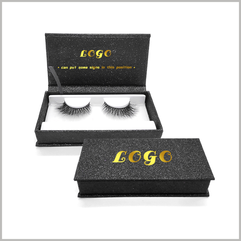 Custom black cardboard boxes for eyelash packaging,The logo will be printed in bronzing, contrasting with the black packaging background color.