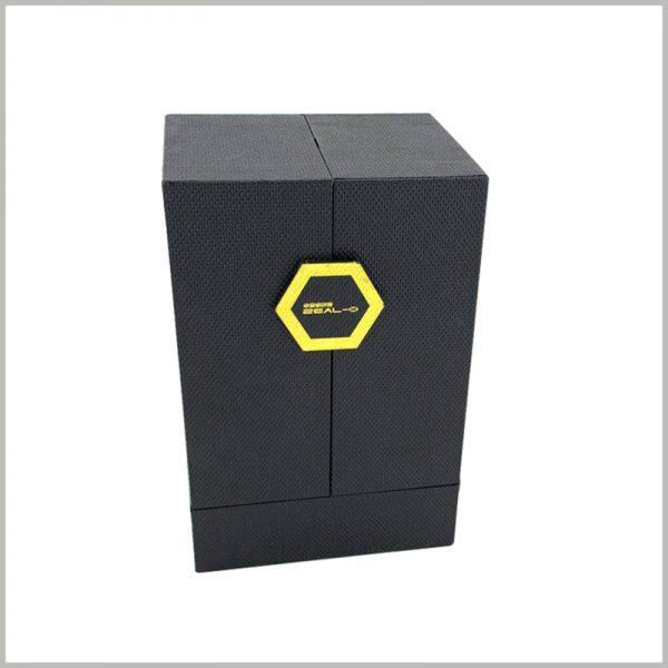 "Custom black cardboard boxes for perfume packaging.The front of the perfume packaging has a similar ""button"" design to reflect the brand message. This is a very rare but effective design."
