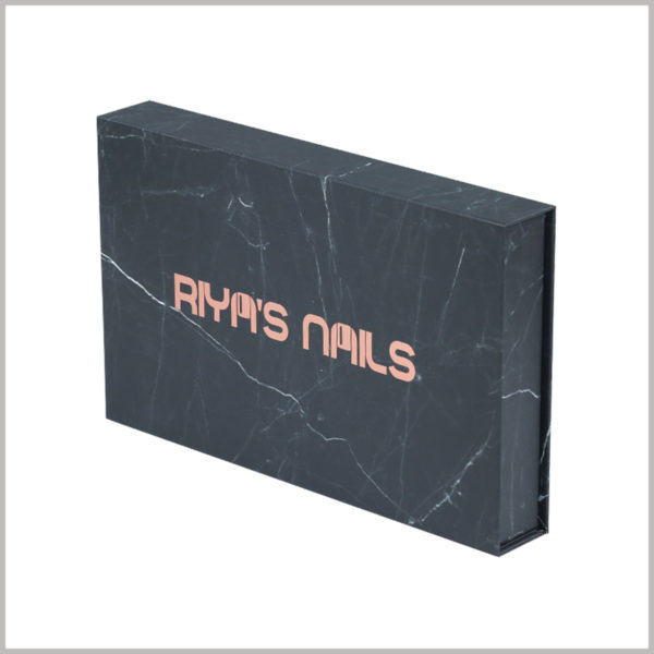 """black cardboard boxes packaging. The unique packaging design makes the entire nail polish package look like a dark green """"stone"""", the design is creative and can attract customers' attention."""