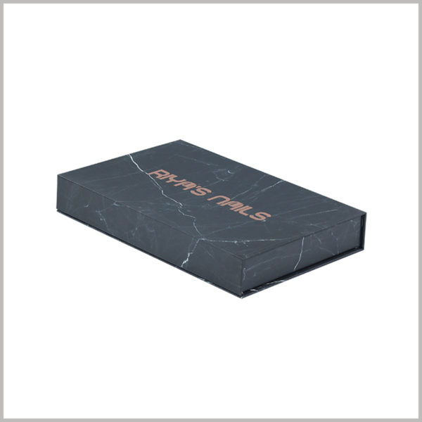 black cardboard cosmetic packaging boxes wholesale. The customized box adopts a flat structure design, and the brand name is printed on the front of the box for brand building.