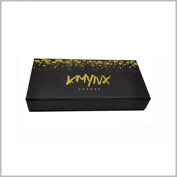 black cardboard false lashes packaging with bronzing printing.Gold fine-grain dot lace patterns and fonts make packaging more luxurious and high-end.