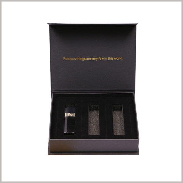 black cardboard gift boxes for three of lipstick set.Flocked EVA inside the black boxes is used to protect the lip gloss, and 3 lip glosses can be placed separately.
