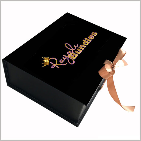 black cardboard gift boxes packaging for hair bundles,Custom printed boxes use gift bows as decoration