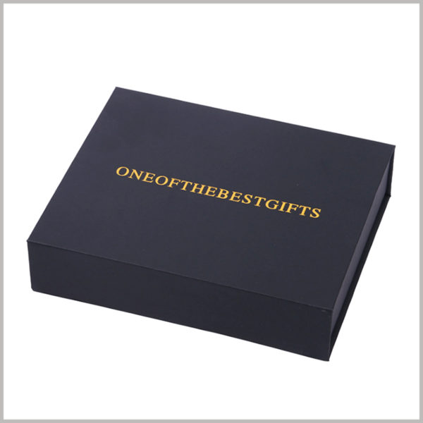 custom black cardboard gift boxes with bronzing printing, With the help of printed content, you can easily distinguish between the product inside the package and the brand it belongs to.