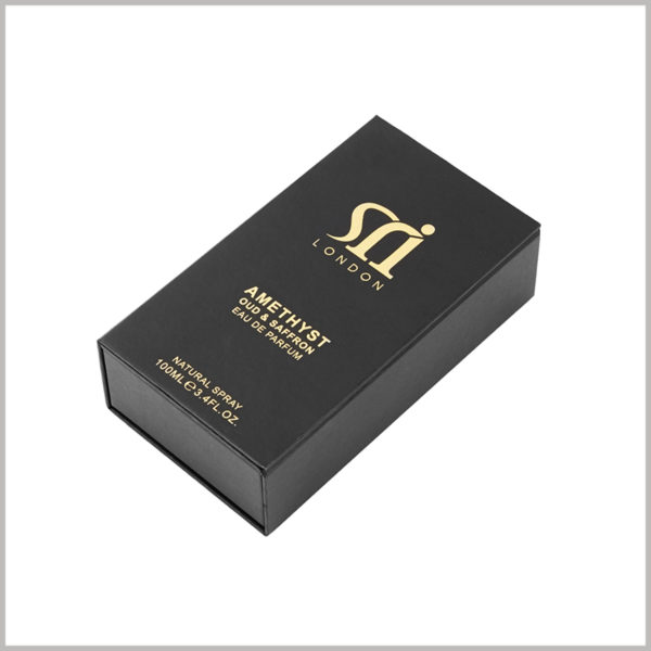 black cardboard packaging for 100ml perfume spray boxes.The special printing process of black card hot stamping and black card hot stamping is used inside and outside the box to design the brand logo and perfume introduction.