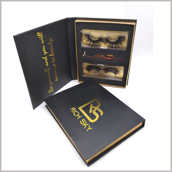 Custom black cardboard packaging for eyelashes gift set,The internal EVA of the black cardboard gift boxes can place the products in an orderly manner.