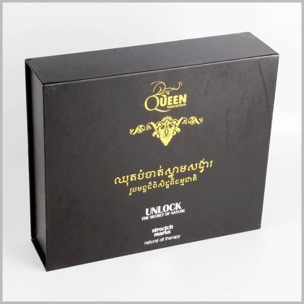black cardboard skin care essential oil packaging boxes set.Product information, brand information, etc. are displayed using bronzing printing and emboss printing to show consumers important information.