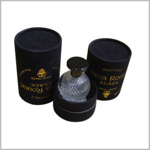 custom black cardboard tube cosmetic packaging for perfume boxes.The black paper tube packaging uses bronzing printing to make custom packaging unique and to show customers the characteristics of perfume inside the packaging.