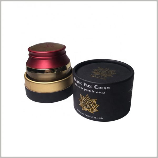 Custom black cardboard tube skin care packaging for face cream box.The cream can be embedded into round boxes without causing excessive packaging.