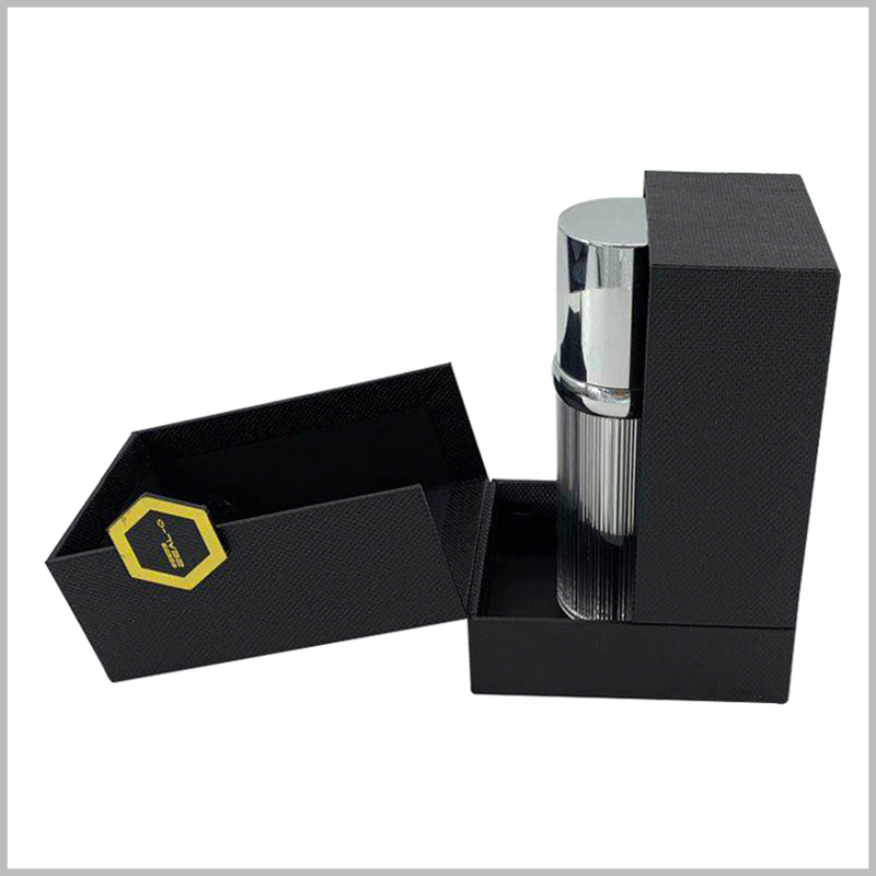 black creative cardboard boxes for perfume packaging.This cardboard perfume boxes has a unique packaging structure, which can be opened unilaterally or bilaterally, showing a good effect.