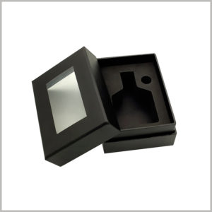 black empty perfume boxes with windows.Therefore, you do not need to open the package to see the perfume style and characteristics inside the box.