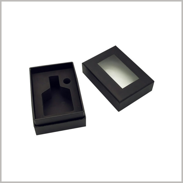 Custom black empty perfume boxes with windows wholesale.This small black box has black EVA inside to hold a perfume glass bottle of a specific shape.