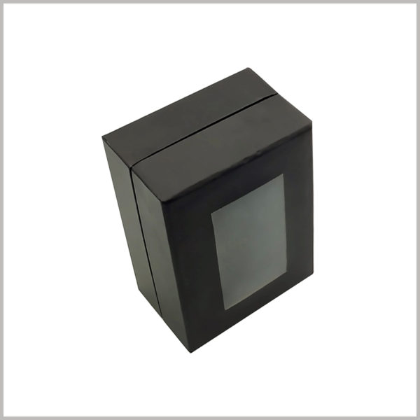 black empty perfume gift boxes with windows.You can print specific content on the packaging, make the packaging unique, and be able to display product and brand information.
