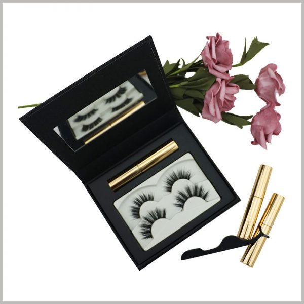 black eyelash packaging box with mirror. There is a white blister inside the customized eyelash packaging as an insert to fix 2 pairs of false eyelash products.