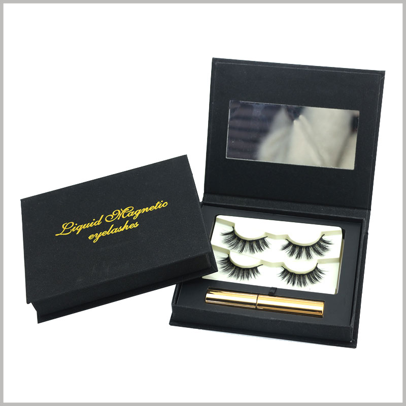 black eyelash packaging for two pairs with mirror. The packaging can contain multiple pairs of false eyelash products and related products, making eyelash products more popular.