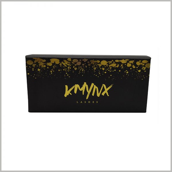 black false lashes packaging with bronzing printing.By printing the patterns and text of the boxes, we can easily discover the product attributes and brand.