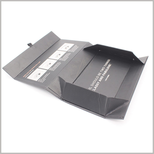 Custom black foldable cardboard packaging for eye brush set boxes. The space occupied by the folded packaging is very small, which can greatly reduce the cost of transporting product packaging.