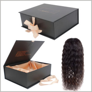 black large gift boxes for hair extension packaging.The outer box is a book-type box with a pink ribbon on the outside.