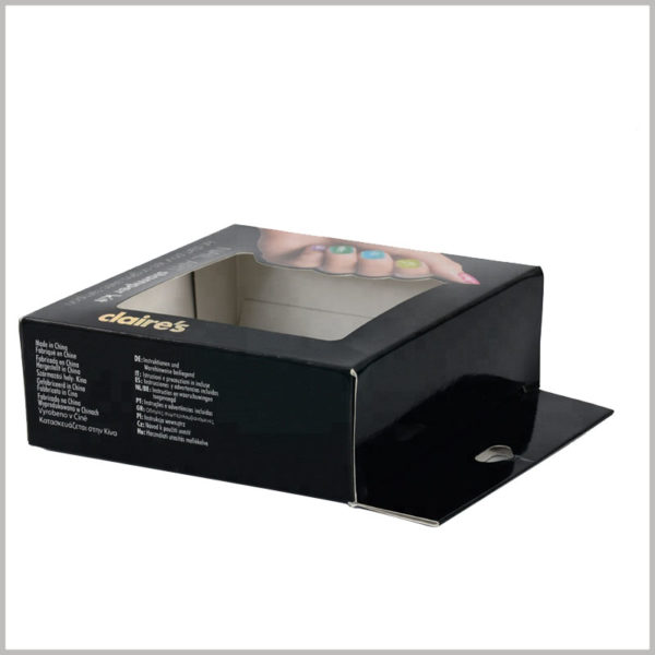 black packaging box with windows. Print detailed product information on the sidebar of the carton, without affecting the overall simplicity of the packaging, and able to explain the product in detail.