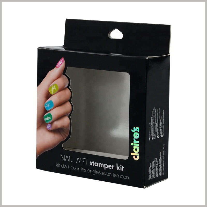 black packaging for nail art stamper kit. On the front of the customized cosmetic packaging, there is a window formed by pvc, you can see the products inside the packaging.