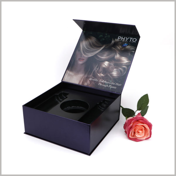 black printed boxes for shampoo packaging. Customized packaging can choose to print specific content, reflect the characteristics and differences of products, and increase the attractiveness of products.