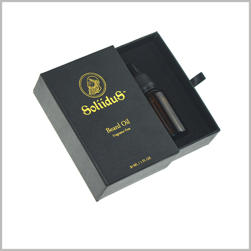 Custom black small cardboard boxes for 30ml essential oil packaging,the custom boxes packaging with bronzing printing.
