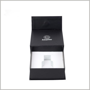 black small cardboard boxes for perfume packaging,The white EVA inside the cardboard package is used as an insert to fix the perfume bottle