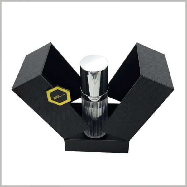 black small cardboard boxes for perfume packaging.Customizable small perfume bottle packaging, the base inside the boxes can fixed the perfume, avoid the perfume from shaking and damage.