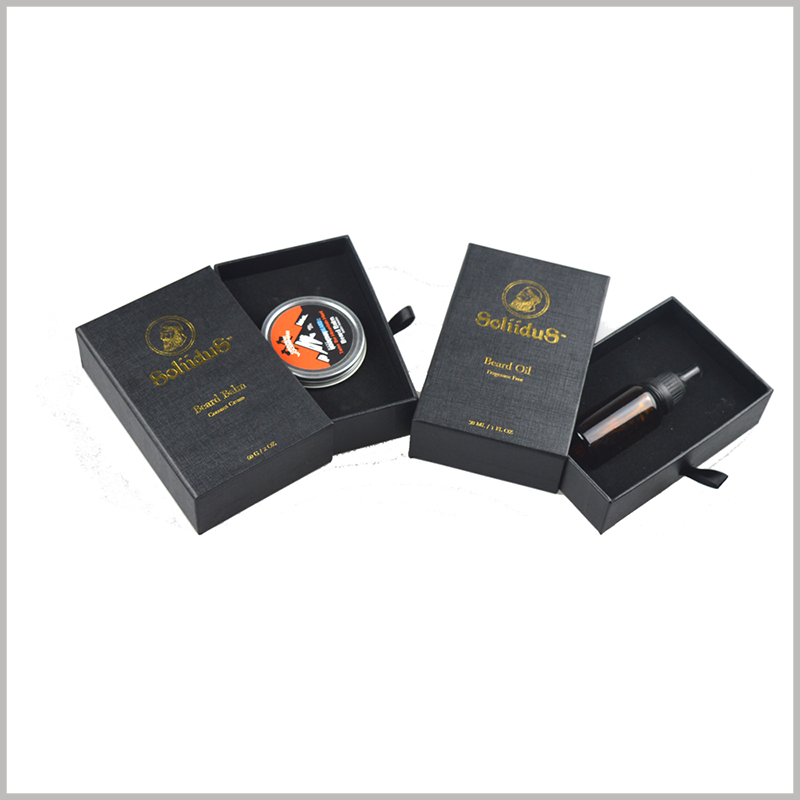 Custom black small cardboard drawer boxes wholesale,the product packaging for essential oil boxes.