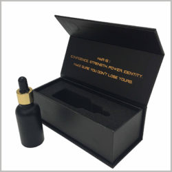 Custom black small cardboard packaging for essential oil boxes.Unlike the inserts inside the bottle package, this black cardboard boxes uses a high-density sponge as the insert, the sponge has a certain hardness and resilience.